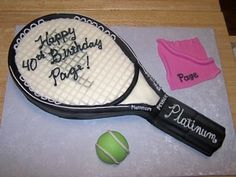 Tennis racket birthday cake. All fondant
