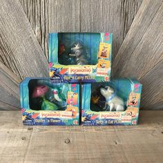 3 Pocahontas Toys Sleep 'n Eat Percy Run 'n Carry Meeko Flutter 'n Flower Flit Action Figures Collectible Vintage Disney Mattel COMPLETE Disney Princess Dolls, Disney Dolls, Pocahontas, Barbie And Ken, Toy Boxes, Vintage Disney, Doll Toys, Childhood Memories, Carry On