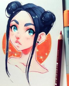 There are so many characters with this hair style, but what inspired me to draw was the lady on the train station, with exactly same hair ^ー^ _  you can support my art on Patreon ♡ patreon.com/Ladowska ♡ Thank you! _ #sketcheveryday #drawing #sketchbook #pen #copic #copicmarkers #traditionalart #animegirl #anime #manga #mangagirl #illustration #illustrationart #漫画 #アニメ #スケッチ #お絵かき