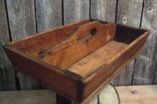 Antique Primitive Vtg Country Farmhouse Wood Utensil Cutlery Box Tray Carrier