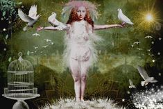 She brings peace. These are the glittering dreams of Splash splash kisses. Digital Collage, Digital Art, Dream Baby, Daydream, Kisses, Collages, Dreaming Of You, Fairy Tales, Peace
