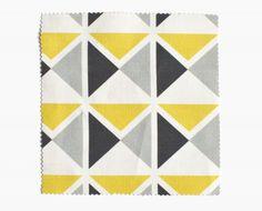 Tissu vintage 1930 jaune, gris, noir