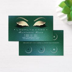 Loyalty Card 6 Beauty Salon Lashes Tropicall Cali - glitter glamour brilliance sparkle design idea diy elegant