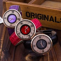 Rhinestone Leather Watch