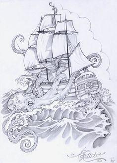 kraken and ship tattoo Tattoo Sketches, Tattoo Drawings, Bateau Pirate, Tattoo Studio, 1 Tattoo, Tattoo Flash, Tiny Tattoo, Kracken Tattoo, Tattoo Ship