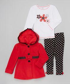 Kids Headquarters Red & Black Polka Dot Peacoat Set - Infant, Toddler & Girls   zulily