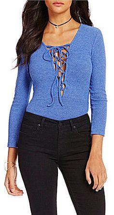 C & V Chelsea & Violet Knit Lace-Up Bodysuit