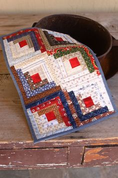 Miniature Scrappy Log Cabin Quilt