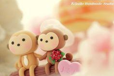 LOVE ANGELS Wedding Cake Topper-love monkey