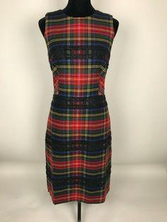 bf92c71db5caea J.CREW NWT Red Plaid Tall Sheath Dress in Lurex Stewart Tartan Size 8 Tall