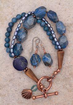 Lapis Coral and Pearl Triple Strand Blue Bracelet, $69, by Sundancegems on Ruby Lane