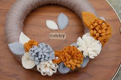 Yarn Wrapped Wreath with Dimensional Felt Flowers by CatshyCrafts, $60.00