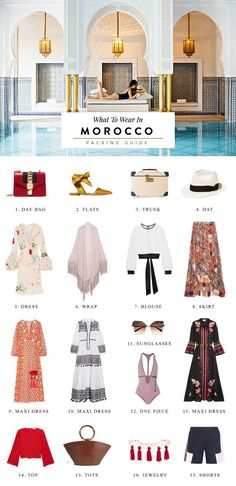 A Morocco packing guide for what to wear in Marrakech morocco travel guide, morocco packing list, morocco fashion, morocco design