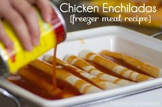 Chicken Enchilada Freezer Meal Recipe - I prefer the enchilada sauce packets and usually add corn, black beans and mild green chiles, but leave out the onion.