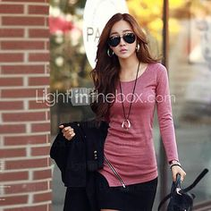 Women's Round Neck Long Sleeve Polyester Top