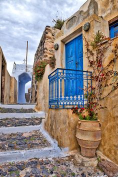 blue balcony by ivan capelo ~ Santorini, Greece