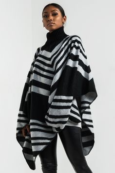 AKIRA Draped Soft Mid-weight Stretchy Turtleneck Poncho in Black Off White