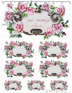 Shabby Vintage Chic Style Pink Cottage Rose Decals Shabby Vintage, Vintage Floral, Shabby Chic, Galentines Day Ideas, Background Vintage, Vintage Backgrounds, Pink Clouds, Label Paper, Vintage Postcards