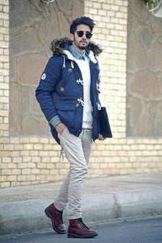 Bank Fashion Navy Bellfield Parka Jacket, Dr.Martens Red, Chek The Link, Chek The Link