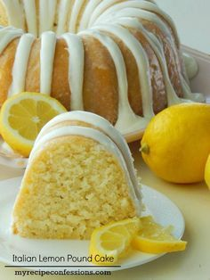 Italian Lemon Pound Cake. Out of all the recipes on my blog, this is the most popular one. I love to serve this cake at summer barbecues. It is so soft and moist, everybody will be asking be asking for the recipe! The flavor is out of this world making it the best dessert ever! http://myrecipeconfessions.com/desserts/italian-lemon-pound-cake/?_a5y_p=5388590