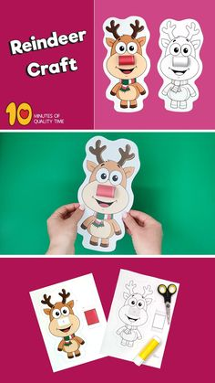 3D Reindeer Craft printable Christmas activity Bible Activities For Kids, Christmas Activities, Christmas Crafts, Reindeer Craft, Snowman, Christmas Tree Printable, Printable Masks, Gingerbread Man, 3d