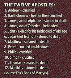 ✟♥ ✞ ♥✟  The 12 Apostles - Would they all have died horrible deaths for a lie?  Knowing Christ changed them.  They knew the truth of Christ and how He is the Savior. Nothing was going to keep them from sharing the truth they knew, not even death. ✟ ♥✞♥ ✟ #TheBibleIsReliable