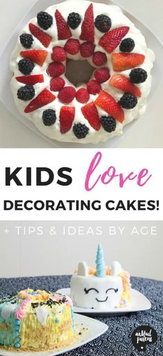 Kids love to decorate cakes! Plus they make great blank canvases for creativity. Here are lots of tips and ideas for kids cake decorating at different ages, toddlers through tweens. #cookingtips #kidsactivities #creativehome #cakedecorating #childhoodmemories