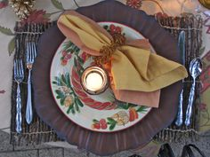 "Non-Traditional Colors: ""Christmas doesn't always have to be green and red,"" designer Cindy Aplanalp says. ""You can extend your fall decorations into the winter by using gold as a holiday color."" Cindy's holiday table setting brings in hints of Christmas hues, but allows natural tones of golden yellow and brown to shine through."
