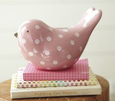 Pink bird bank from Pottery Barn Kids. Cute decor today that has a function tomorrow. Pottery Barn Kids, Pink Love, Pretty In Pink, Perfect Pink, Little Birdie, Pink Bird, Pink Tulips, Everything Pink, Pink Polka Dots