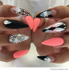 Long stiletto nails with diamonds and more, love the coral color