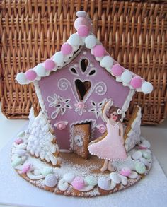 Gingerbread House and gingerbread girl,pink