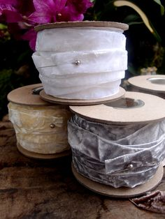 Add a splash of luxury to your wrapped gifts or decorations with this eye-catching ivory velvet ribbon. The Ivory Crushed Velvet Ribbon brings soft, sumptuous texture to delicately wrapped wedding or baby shower presents, and adds plushness to dainty, Ribbon Colors, Ribbon Bows, Ribbons, Save On Crafts, Diy Crafts, Discount Craft Supplies, Gift Wrapping Services, Velvet Ribbon, Crushed Velvet