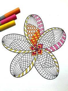 Plumeria PDF Zentangle Coloring Page - tropical, hawaii, hawaiian flower bloom