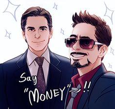 Tony Stark and Bruce Wayne - by hallpen