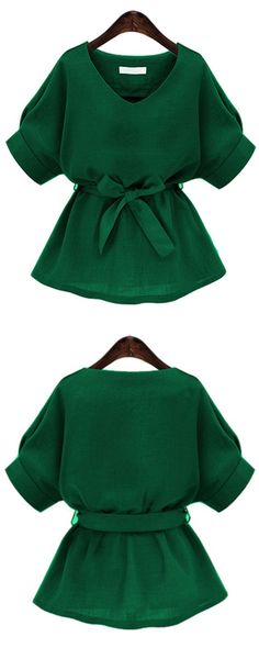 Green V Neck Self Tie Blouse: