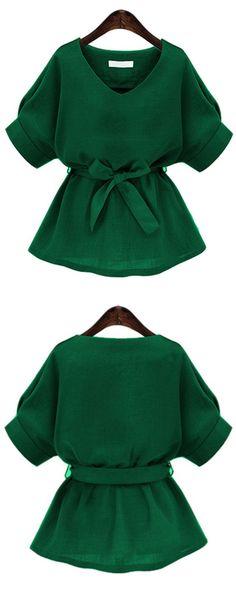 Green V Neck Self Tie Blouse: