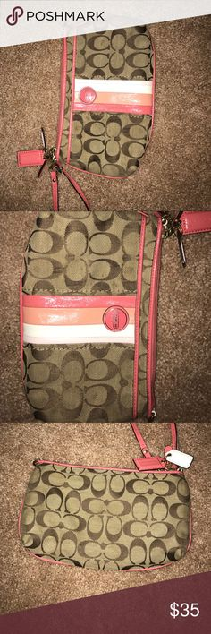 Authentic coach wristlet Heavily used coach wristlet, a few stains. Would love to negotiate prices, make an offer (: Coach Bags Clutches & Wristlets