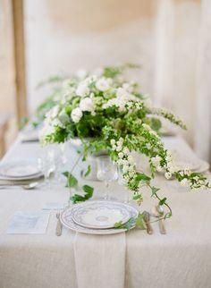 #centerpiece, #spirea, #white, #green, #ivy  Photography: Greg Finck - www.gregfinck.com Floral Design: Isa Events - www.isaevents.it Venue: Villa Buonaccorsi - www.facebook.com/pages/Villa-Buonaccorsi/119659334778394