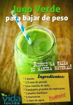 Los jugos naturales están mas de moda que nunca en todas las dietas así que, si deseas bajar de peso de una manera natural y efectivapruebaeste jugo verdede frutas y verduraspor las mañanas antes del desayuno. 1081011 Relacionado