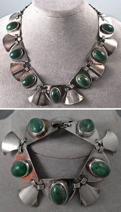 Necklace and Bracelet | Fred Davis design; silver with large green stone cabochons. ca. 1960s