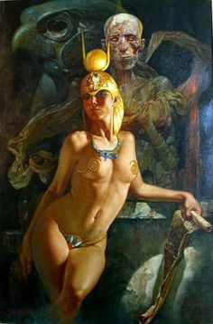 Isis, behind her is her husbandbrother Osiris and their son Horus