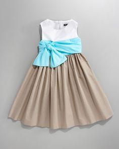 David Charles Draped-Bow Colorblock Dress 462ef24463a2
