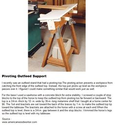 Pivoting Outfeed Support | WoodworkerZ.com