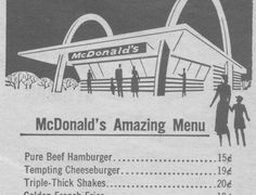 PHOTO - The Original McDonald's Menu with Prices of the food back ...