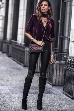 a2762b52f3343 I like the black and purple velvet textures. Shirt looks like the would be  too