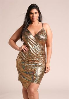 Plus Size Iridescent Metallic Asymmetrical Bodycon Dress