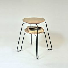 enochliew:    Stool by Matthieu Appert  Available with or without shelf at the bottom of the seat.