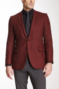 Herringbone Two Button Notch Lapel Wool Jacket