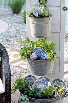 Salvaged old plates or saucers and old galvanized buckets repurposed into darling planters attached to an old door