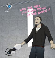 Abstergo to Aperture by *doubleleaf on deviantART.  Haha. I love that the scientist and Wheatley are the same voice. Also. Funny all those fan fiction comics about Wheatley and Chell...I just noticed...did they copy the character they normally draw his human form as from AC?